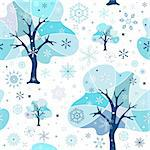 Seamless white-blue winter pattern (vector) Stock Photo - Royalty-Free, Artist: OlgaDrozd, Code: 400-04211195