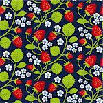Strawberries seamless background on the blue, repeating design, full scalable vector graphic included Eps v8 and 300 dpi JPG. Stock Photo - Royalty-Free, Artist: ElaKwasniewski, Code: 400-04211595