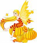 Autumn  fairy elf sitting on pumpkin Stock Photo - Royalty-Free, Artist: Dazdraperma, Code: 400-04212312