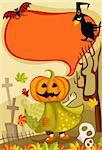 vector illustration of a cute halloween card Stock Photo - Royalty-Free, Artist: nem4a, Code: 400-04212564