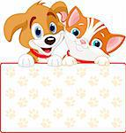Cat and dog holding sign (add your own message) Stock Photo - Royalty-Free, Artist: Dazdraperma, Code: 400-04213193