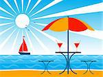 vector background with beach umbrella, drinks on table and sailboat, Adobe Illustrator 8 format Stock Photo - Royalty-Free, Artist: beta757, Code: 400-04213253