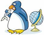 Illustration of funny penguin with fish and globe Stock Photo - Royalty-Free, Artist: izakowski, Code: 400-04213515