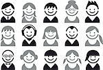 icon set of woman and man faces, vector pictogram