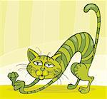 Illustration of Green Cat stretching Stock Photo - Royalty-Free, Artist: izakowski, Code: 400-04214440