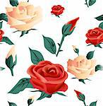 Roses seamless on white background. Vector illustration