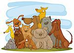 Cartoon illustration of group of funny dogs