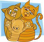 illustration of cheerful cats family Stock Photo - Royalty-Free, Artist: izakowski, Code: 400-04216208