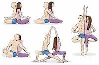 sweaty woman - Illustration of man and woman Practicing Yoga in Couple Stock Photo - Royalty-Freenull, Code: 400-04216693