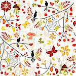 Autumn seamless pattern with colorful leaves, bird and butterflies (vector) Stock Photo - Royalty-Free, Artist: OlgaDrozd, Code: 400-04216847