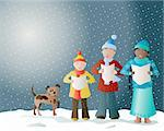 an illustration of carol singers in the snow with their pet dog Stock Photo - Royalty-Free, Artist: emjaysmith, Code: 400-04218339