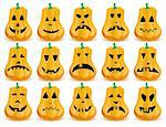 Big set of 15 Halloween pumpkins with  mouths, eyes and noses as Jack O`Lantern face, part 14, vector illustration   Stock Photo - Royalty-Free, Artist: MarketOlya, Code: 400-04218688