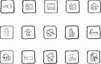 Real Estate icons grunge line Stock Photo - Royalty-Freenull, Code: 400-04219237