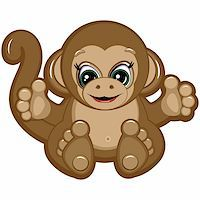 smiling chimpanzee - Little Monkey - one of the symbols of the Chinese horoscope Stock Photo - Royalty-Freenull, Code: 400-04219816
