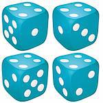 Set of blue casino craps, dices with four points, dots number on top, vector illustration Stock Photo - Royalty-Free, Artist: MarketOlya, Code: 400-04220254