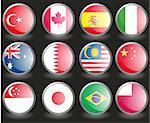 Web buttons with flags of F1race countries. Name of the country as the name of the layer. Vector illustration eps 10. Stock Photo - Royalty-Free, Artist: MarketOlya, Code: 400-04220255