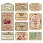 collection of vintage labels; scalable and editable vector illustrations; Stock Photo - Royalty-Free, Artist: milalala, Code: 400-04221781