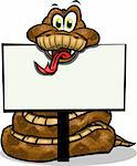 Cute Snake holding up sign.Separated into layers for easy editing. Stock Photo - Royalty-Free, Artist: rayuken, Code: 400-04221845