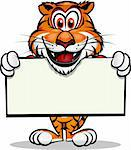 Cute Tiger holding up sign.Separated into layers for easy editing. Stock Photo - Royalty-Free, Artist: rayuken, Code: 400-04221849
