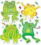 Funny vector set of cute frogs Stock Photo - Royalty-Free, Artist: dianka, Code: 400-04222137