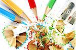 Sharpened pencil and wood shavings. Stock Photo - Royalty-Free, Artist: arosoft, Code: 400-04223863