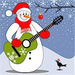 Happy snowman singing christmas carols and playing guitar, full scalable vector graphic included Eps v8 and 300 dpi JPG. Stock Photo - Royalty-Free, Artist: ElaKwasniewski, Code: 400-04224349