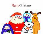 Christmas snowman, Santa Claus, penguin, deer, bear. Vector illustration