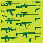 vector set of various weapons Stock Photo - Royalty-Free, Artist: emirsimsek, Code: 400-04225455
