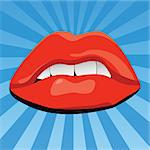 vector illustration of sexy lips Stock Photo - Royalty-Free, Artist: emirsimsek, Code: 400-04226017