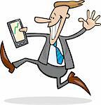 cartoon illustration of running businessman happy of share rises Stock Photo - Royalty-Free, Artist: izakowski, Code: 400-04226946