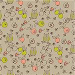 Seamless floral pattern with cartoon birds Stock Photo - Royalty-Free, Artist: sashayezik, Code: 400-04227209