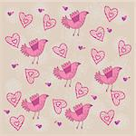 Seamless floral pattern with cartoon birds Stock Photo - Royalty-Free, Artist: sashayezik, Code: 400-04227217