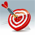 Heart Shaped Darts Target with sticking Arrow. Vector Illustration Stock Photo - Royalty-Free, Artist: fixer00, Code: 400-04227754