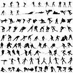 Set of winter sport silhouettes. Vector illustration. Stock Photo - Royalty-Free, Artist: angelp, Code: 400-04228028
