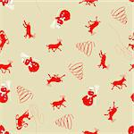Beautiful vector Christmas (New Year) seamless background for design use