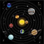Planets and sun from our solar system. Vector illustration. Stock Photo - Royalty-Free, Artist: stoyanh, Code: 400-04228334