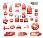 vector set of shopping tags and stickers in red color with snowflakes ornament Stock Photo - Royalty-Free, Artist: BooblGum, Code: 400-04228693