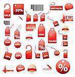 vector set of shopping tags and stickers in red color Stock Photo - Royalty-Free, Artist: BooblGum, Code: 400-04228695