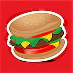 illustration of yummy burger on textured background Stock Photo - Royalty-Free, Artist: get4net, Code: 400-04228870