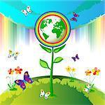 Eco Earth flowers, garden, butterflies and rainbow