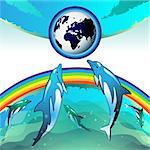 Eco Earth, clean water, diving dolphin