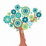 Abstract tree made of flowers. Vector illustration Stock Photo - Royalty-Free, Artist: OlgaYakovenko, Code: 400-04229870