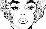 face of a beautiful woman, drawn with old comic style