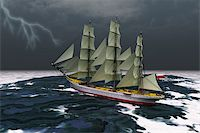 sailing boat storm - A tall ship glides through rough seas during a thunderstorm. Stock Photo - Royalty-Freenull, Code: 400-04231573