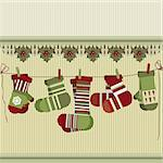 Retro Christmas background with socks and mittens.