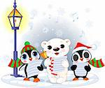 Christmas carolers – cute polar bear and two penguins- under streetlight Stock Photo - Royalty-Free, Artist: Dazdraperma, Code: 400-04233366