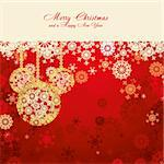 Red Christmas card with snowflakes and gold baubles, vector illustration Stock Photo - Royalty-Free, Artist: MarketOlya, Code: 400-04234327