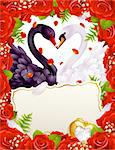 Greeting card with swans in love Stock Photo - Royalty-Free, Artist: denis13, Code: 400-04234387