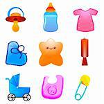 illustration of kids icons on white background Stock Photo - Royalty-Free, Artist: get4net, Code: 400-04234953