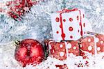 Christmas background, baubles, presents and other christmass stuff Stock Photo - Royalty-Free, Artist: FikMik, Code: 400-04235297